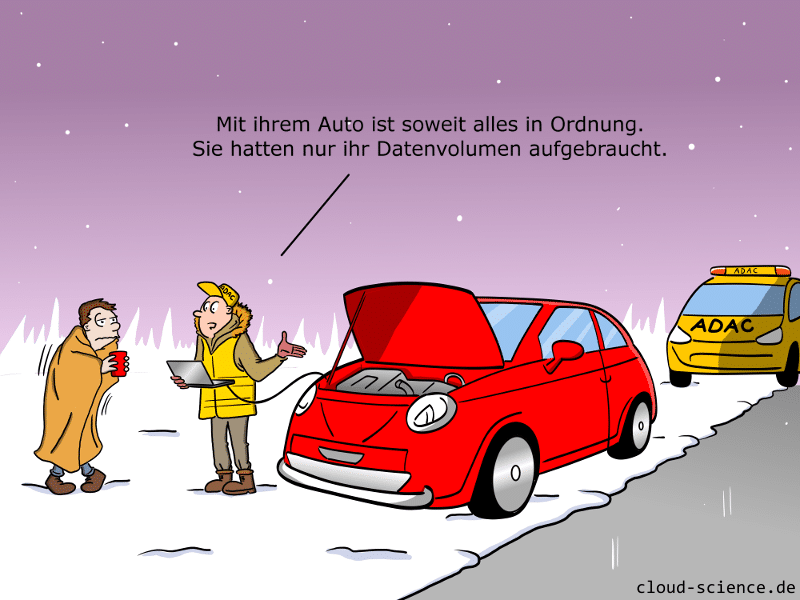 Connected Car Datenvolumen aufgebraucht - Cartoon