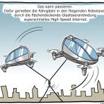 Glasfaser Vs. Robotaxi Cartoon
