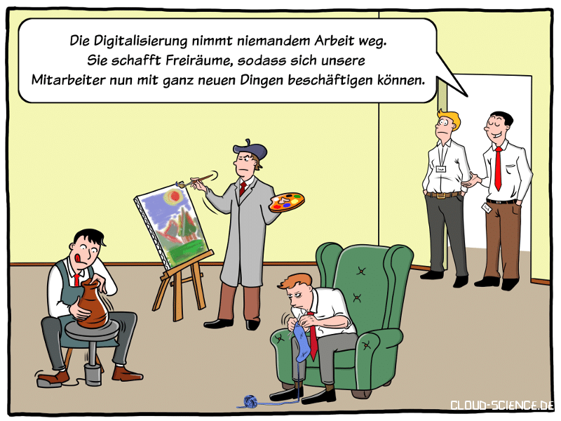Digitalisierung Arbeit Cartoon