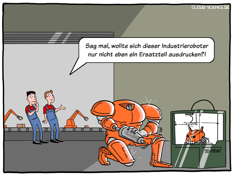 Roboter KI Industrie 4.0 3D-Drucker Cartoon Karikatur