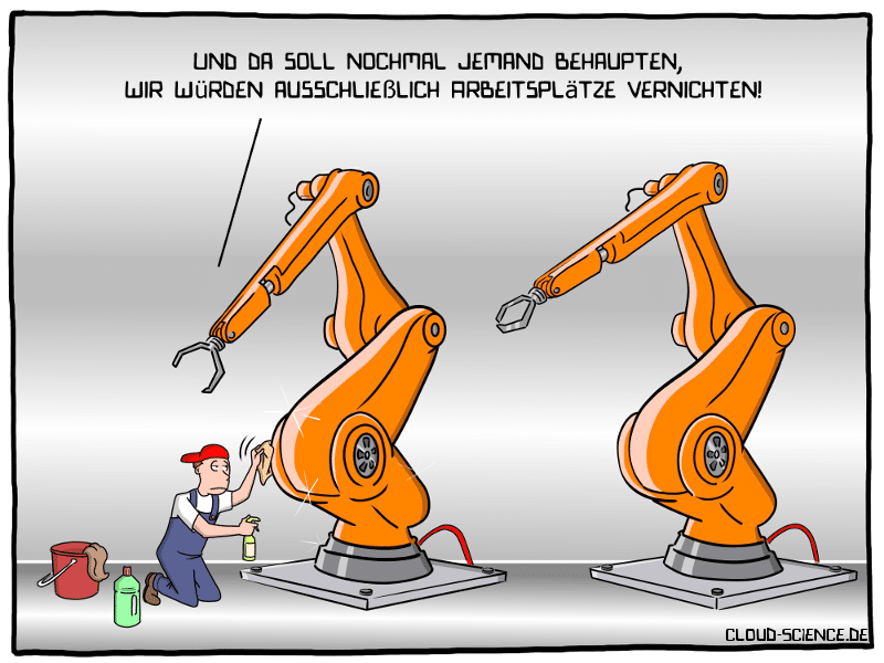 Digitalisierung schafft Arbeitsplätze Cartoon