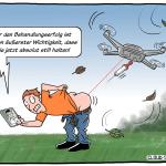 Telemedizin und Drohnen gegen Ärztemangel auf dem Land. Cartoon