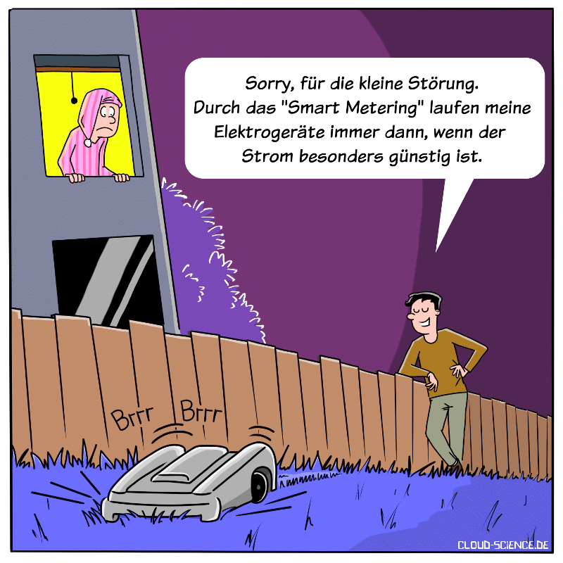intelligenter Stromzähler Smart Meter Smart Metering Cartoon