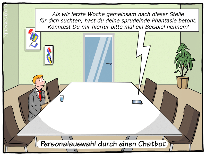 Neuer Job per Chatbot Cartoon