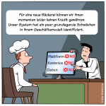 Digitale Kreditvergabe Prüfung Cartoon