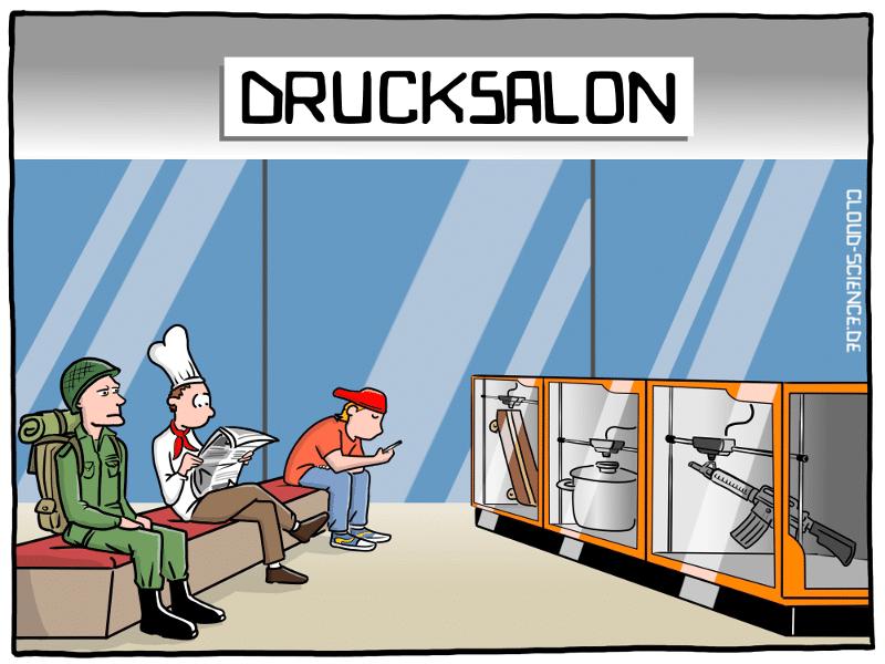 3D-Drucker 3-D drucken additive Fertigung Drucksalon Zukunft der Logistik Vorort Cartoon Karikatur