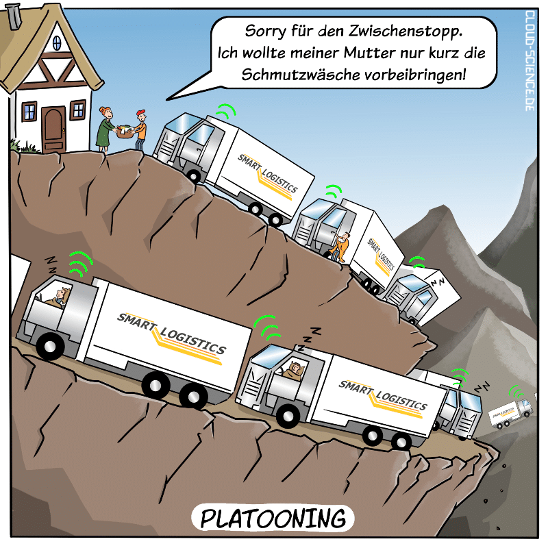 Platooning -Cartoon