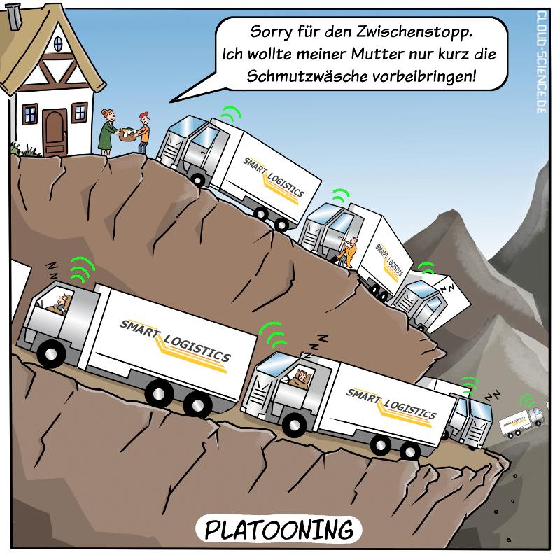 Platooning Logistik Cartoon Konvoi Transport Lieferwagen Cartoon Karikatur Humor