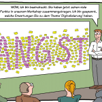 Workshop Digitalisierung Post-it Agil Cartoon