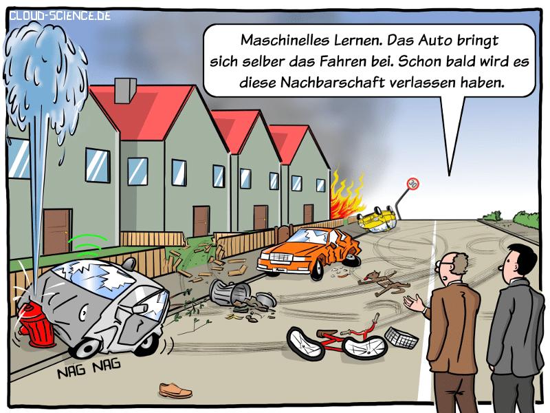Maschine Learning Autonomes Fahrzeug Auto fahren lernen Cartoon KI