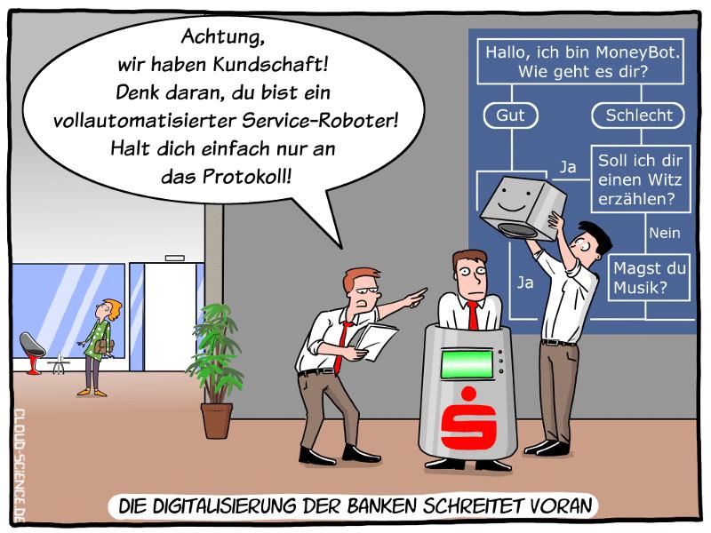 Banken Digitalisierung Service-Roboter Automatisierung Cartoon