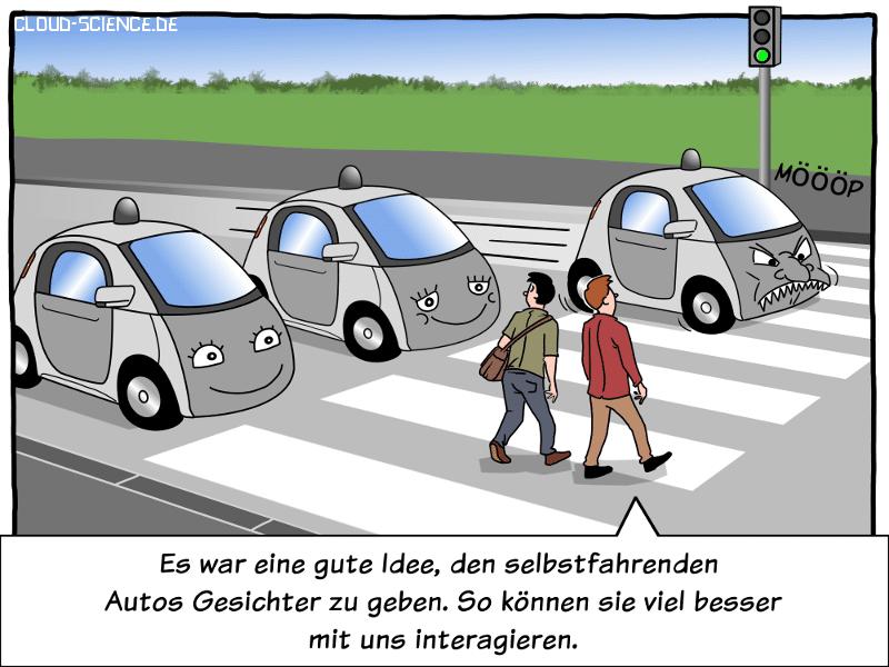 Mensch-Maschinen-Interaktion HCI Kommunikation Straßenverkehr Cartoon