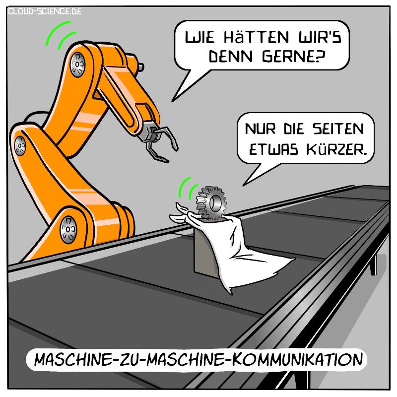 M2M-Kommunikation Roboterarm und Werkstück