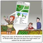 Blockchain Transparent Lebensmittel Handel Cartoon