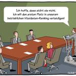 eHealth in Unternehmen Gesundheitsmanagement Health-Tracker Gamification Cartoon