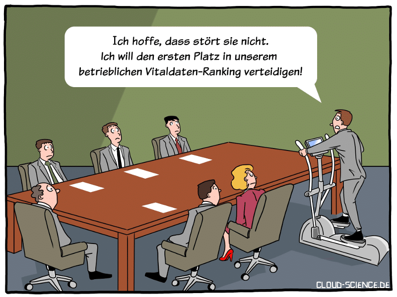 eHealth in Unternehmen Gesundheitsmanagement Health-Tracker Gamification Cartoon