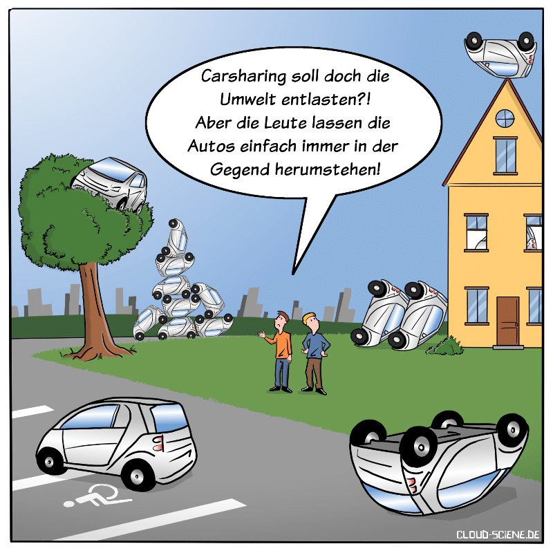 Carsharing Free-Floating Cartoon