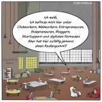 Coworking Space Teamwork Cartoon Karikatur Digitalisierung