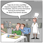 IT-Sicherheitsrisiko White Hat Hacker Cartoon