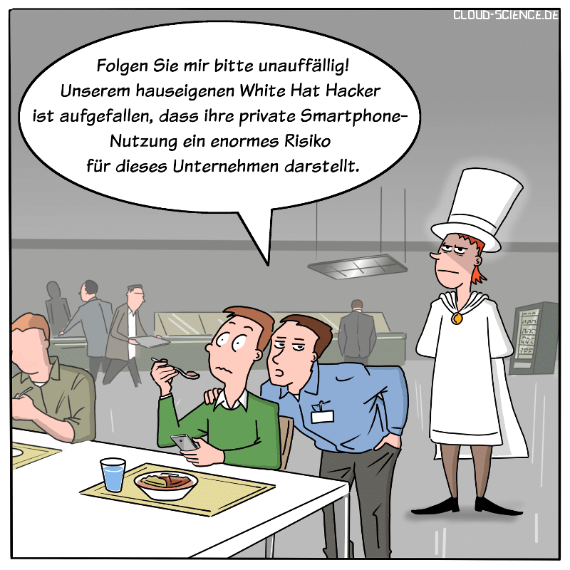 IT-Sicherheitsrisiko White Hat Hacker Cartoon