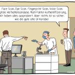 Authentifizierungsmethode Iris Scan, Eye Scan, Fingerprint Scan, Voice Scan, Verhaltensananalyse, Multi-Faktoren-Authentifizierung Cartoon