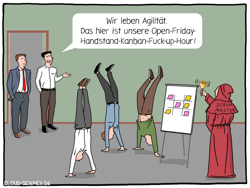 Agilität Workshop Kanban Scrum Open Friday Hour Cartoon