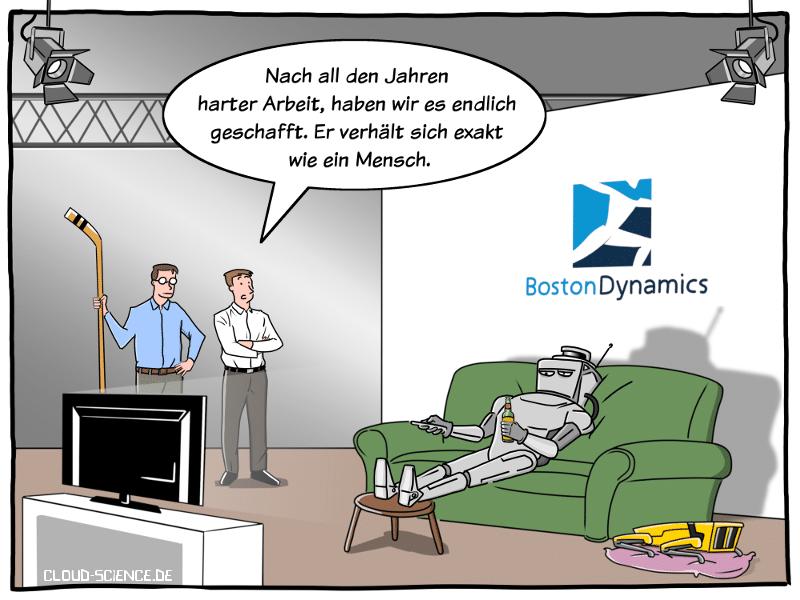 Roboterforschung Durchbruck Boston Dynamics Roboter sitzt auf de rCouch und schaut TV Cartoon