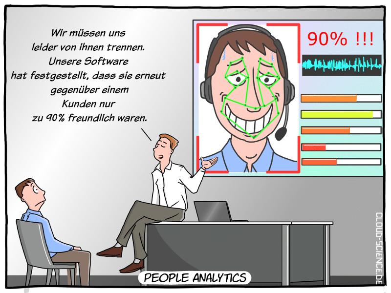 Mitarbeiterleistung People Analytics Affective Computung Beurteilung Cartoon