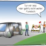 5G Autonomes Fahren Funkloch Cartoon