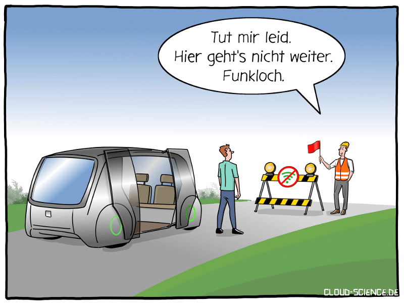 5G Autonomes Fahren Funkloch Cartoon