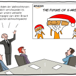 Amazon Weihnachten Zukunft Meeting XMas Jeff Bezos Cartoon