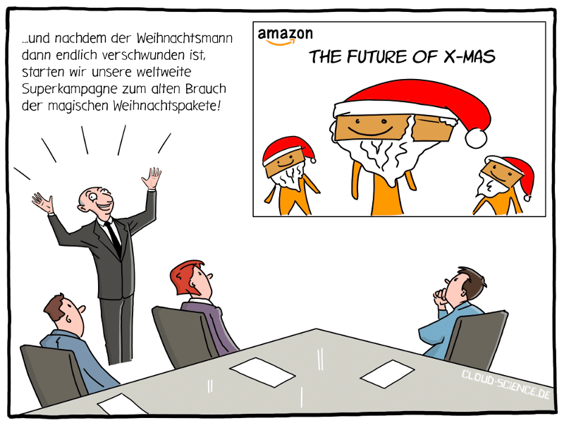 Amazon Weihnachten Zukunft Meeting XMas Jeff Bezos Cartoon