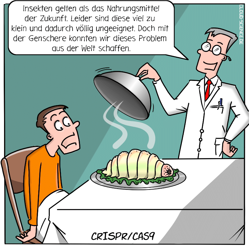 CRISPR/Cas9 Genschere Biohacking Erbgut Cartoon Grafik Illustration