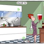 Küche 4.0 Smart Kitchen Cartoon Moley Roboter Hausfrau intelligenter Kühlschrank Saugroboter Cartoon