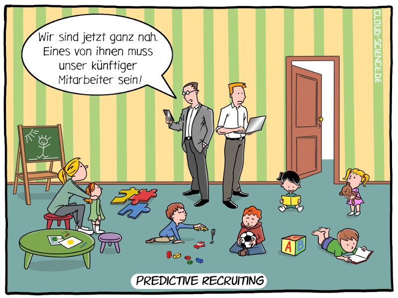 Predictive Recruiting KI IT-Management Cartoon Fachkräftemangel Personalauswahl Karikatur Illustration