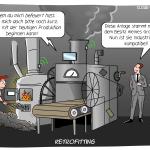 Retrofitting technische Anlage modernisieren Factory Cartoon Illustration Grafik