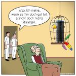 Alexa Vogel Technologie Pflege Pflegenotstand Cartoon