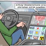 Hybridauto Dieselverbot Elektroauto Fahrverbot Cartoon Illustration