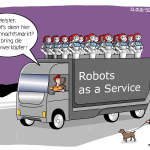 Robots as a Service Roboter Weihnachtsmarkt Technologie Mietmodell Cartoon