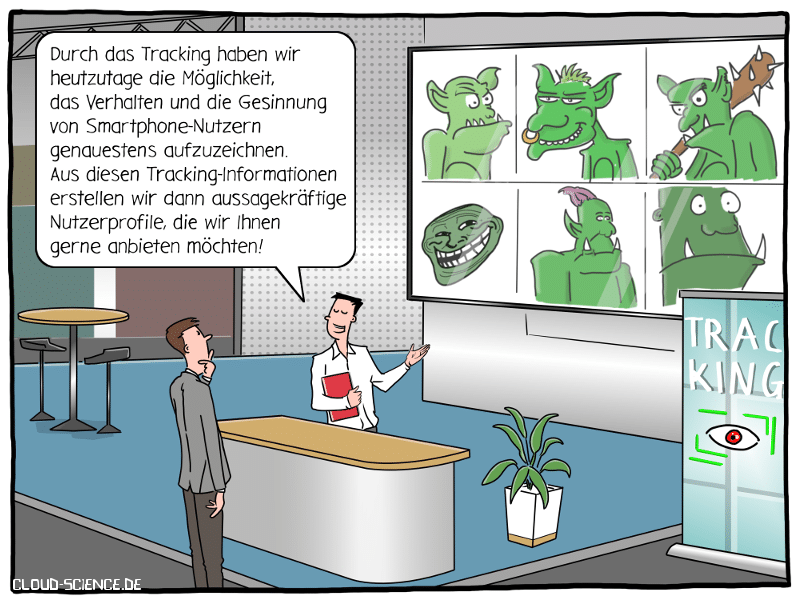 Tracking Smartphone Daten Messe Verkauf Profile Trolle Cartoon