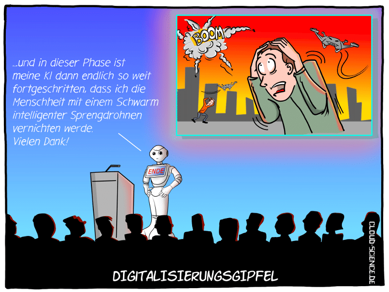 KI Künstliche Intelligenz Roboter Pepper Digital-Gipfel 2018 Nürnberg Cartoon
