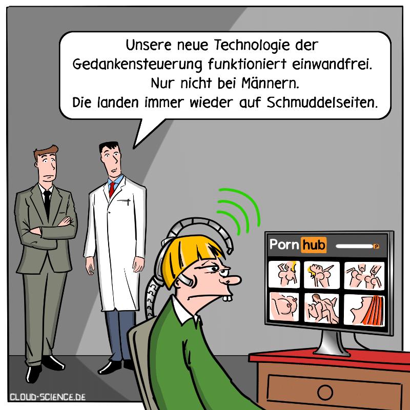 Technologie Gedankensteuerung Cartoon Technologie Neil Harbisson. Ein Mann steuert mit seinen Gedanken einen Computer