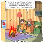 Ransomware Smart Home Hacker Erpessung Lösegeld Cartoon Thermostat Technologie Digitalisierung