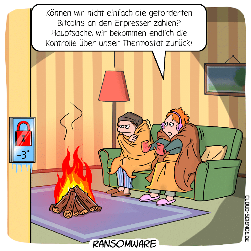 Ransomware Smart Home Hacker Erpessung Lösegeld Cartoon Thermostat Technologie Digitalisierung