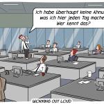 Working Out Loud WOL Managment Veränderung Zusammenarbeit Büro Cartoon Digitalisierung