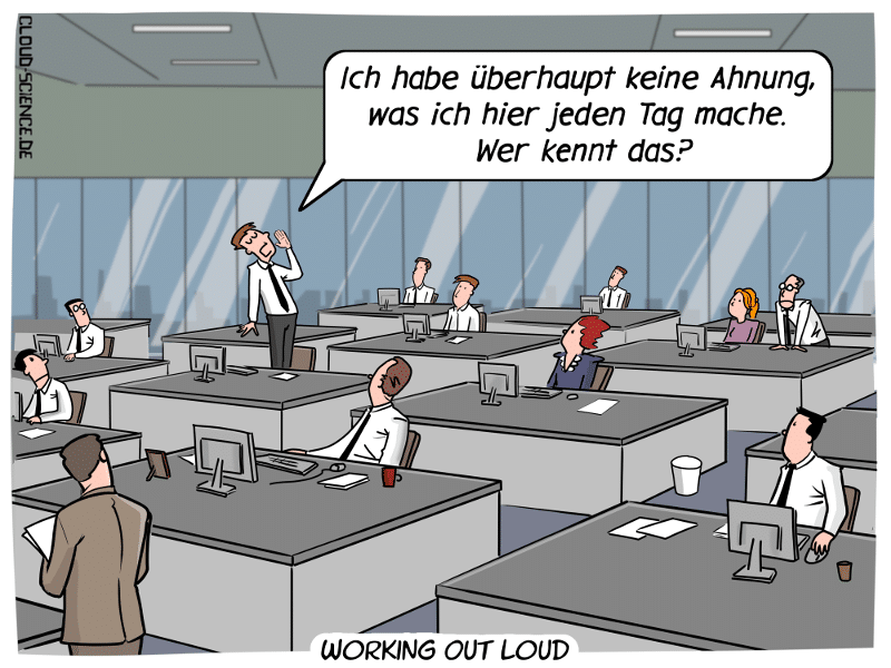 Working Out Loud WOL Managment Veränderung Zusammenarbeit Business Büro Cartoon Digitalisierung