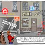 Sterben der Innenstädte Aussterben stationärer Handel Digitaler Zwilling Shopping Cartoon