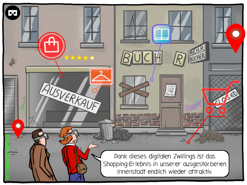 Sterben der Innenstädte Aussterben stationärer Handel Digitaler Zwilling Shopping Cartoon