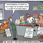 Influencer Influencing Einzelhandel stationärer Handel Cartoon