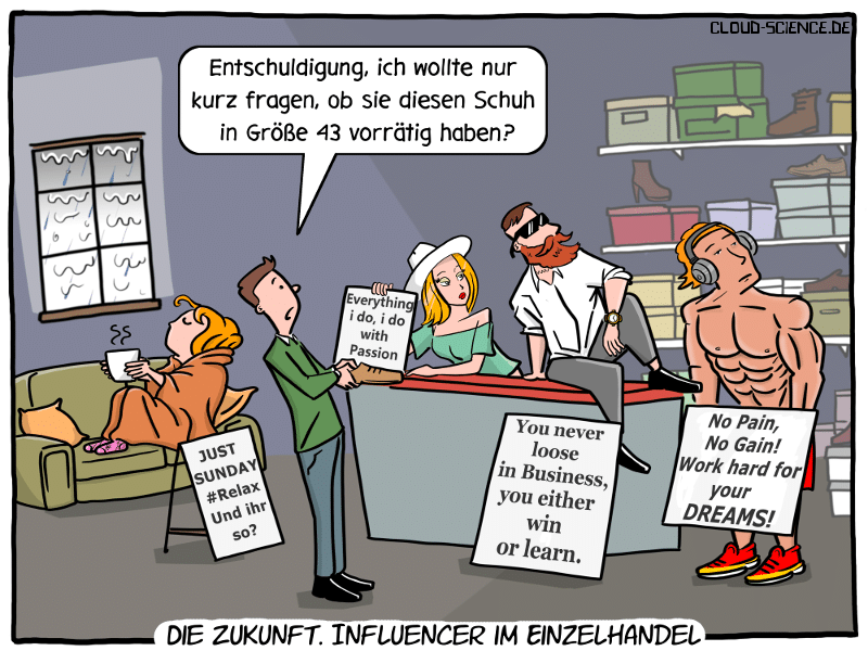 Influencer Influencing Einzelhandel stationärer Handel Cartoon Karikatur